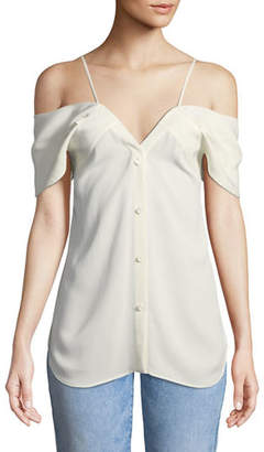 Theory Off-the-Shoulder Button-Down Classic Georgette Blouse