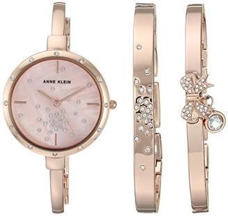 Anne Klein Women's AK/3274RGST Swarovski Crystal Accented -Tone Watch and Bangle Set