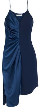 Halston Asymmetric Ruched Satin And Crepe Dress