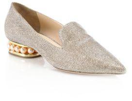 Nicholas Kirkwood Casati Pearly Heel Lurex Loafers $695 thestylecure.com