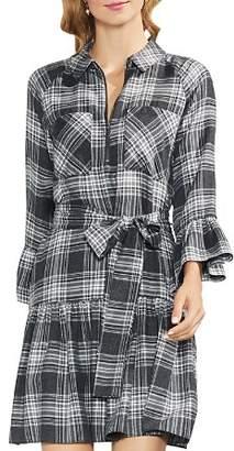 Vince Camuto Plaid Ruffle Shirt Dress