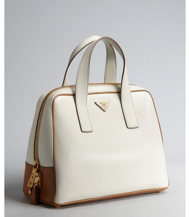Prada white leather logo top handle bowler bag