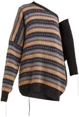 Raf Simons Oversized One Shoulder Striped Sweater - Womens - Beige Multi