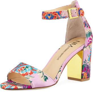Neiman Marcus Amaranta Floral Satin Sandals, Pink