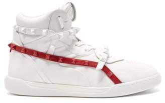 Valentino Rockstud Amor High Top Leather Trainers - Womens - Red White