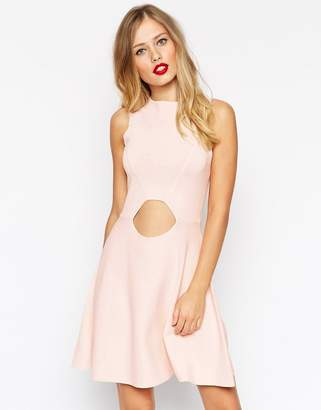 Asos Design Skater Dress In Structured Knit With Cut Outs