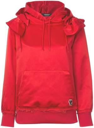 Undercover frilled shoulder satin hoodie