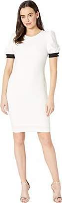 Calvin Klein Women's Round Neck Sheath with Blouson Short Sleeves Dress