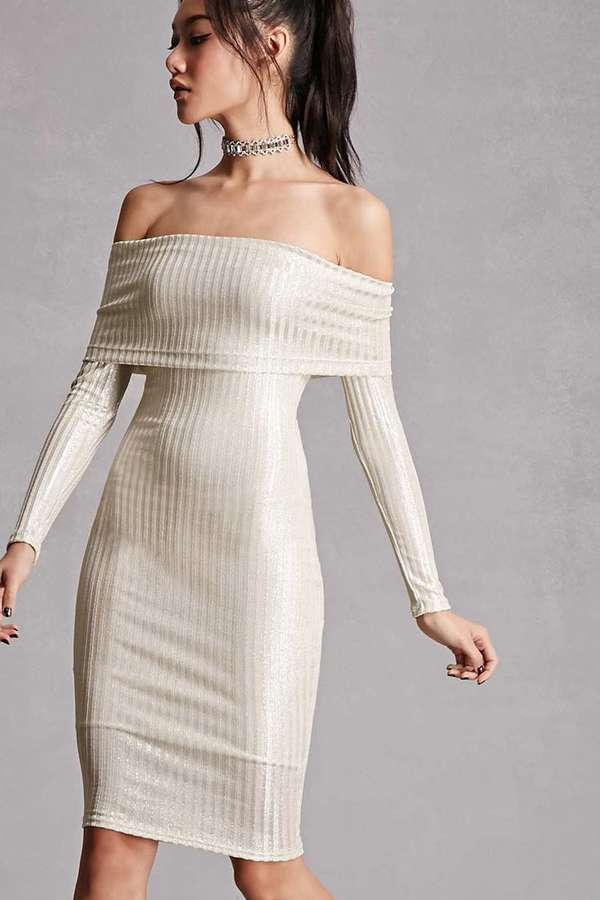 FOREVER 21+ Off-the-Shoulder Metallic Dress