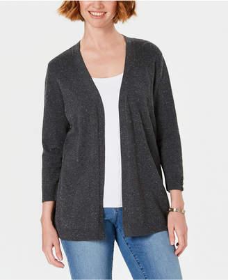 Karen Scott Ribbed-Yoke Cardigan Sweater