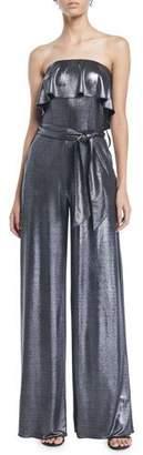 Carolina Ritzler Julie Ruffle Strapless Wide-Leg Metallic-Jersey Jumpsuit