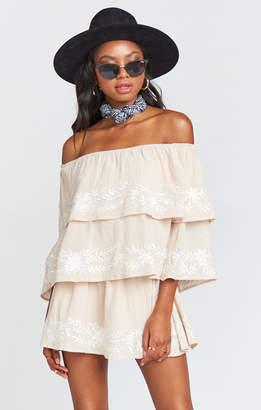Show Me Your Mumu Lenora Romper ~ Tropicana Embroidery Tan