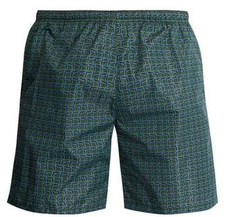 Prada - Geometric Print Swim Shorts - Mens - Green Multi
