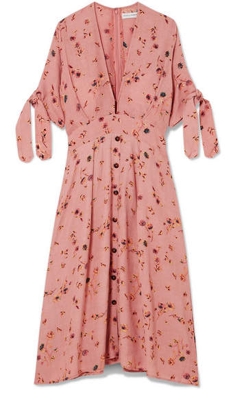 Faithfull The Brand - Nina Floral-print Crinkled-crepe Midi Dress - Antique rose