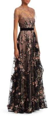 Talbot Runhof Mixed Media Embroidered Gown