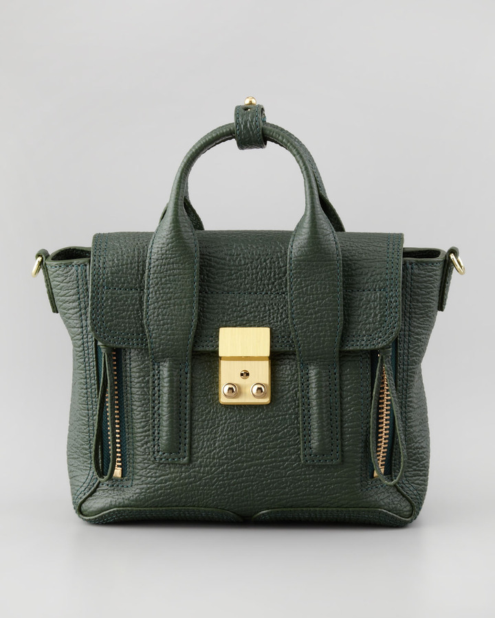 3.1 Phillip Lim Mini Pashli Leather Satchel, Dark Green