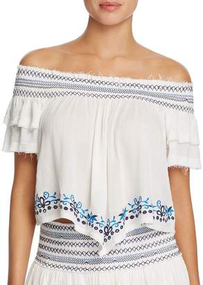 Surf.Gypsy Embroidered Off-the-Shoulder Top Swim Cover-Up