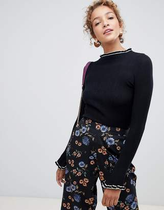 Wild Flower flared sleeve and high neck contrast trim sweater
