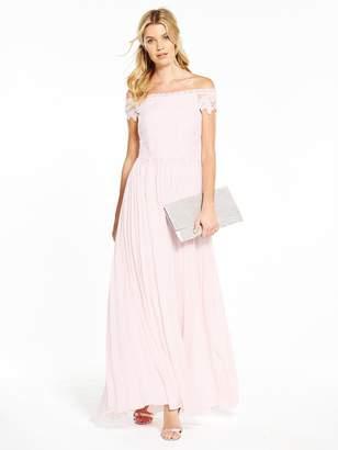 Very Bridesmaid Pleated Bardot Maxi Dress - Blush
