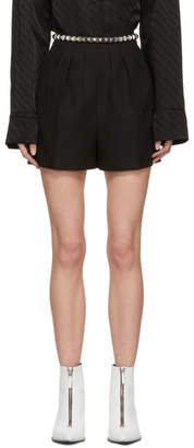 Alexander Wang Black Studded Pleated Shorts