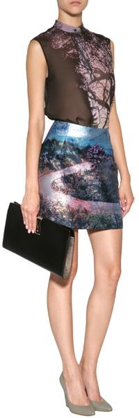 Mary Katrantzou Silk Blend Tullie Printed Twill Skirt
