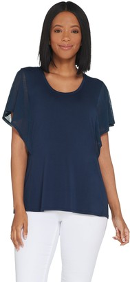 Halston H By H by U-Neck Top with Mixed Media Flutter Sleeves