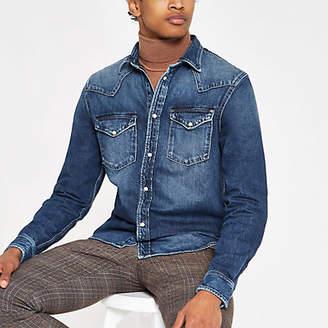 River Island Mens Pepe Jeans Blue denim shirt