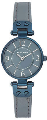 Anne Klein Analog Blue and Grey Leather Strap Watch