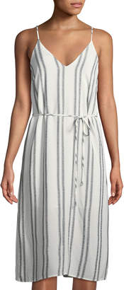 Astr Estrella Striped Tie-Front Midi Dress