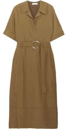 Barbara Casasola Belted Taffeta Midi Dress