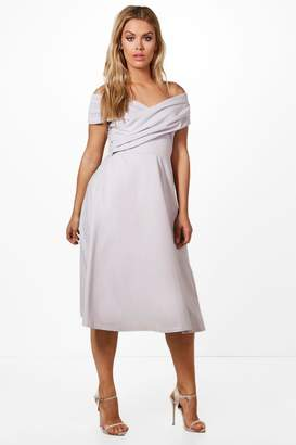 boohoo Plus Erica Pleated Off The Shoulder Skater Dress