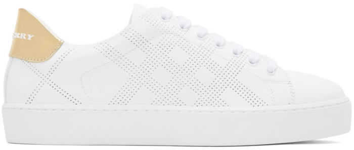 Burberry White Westford Check Sneakers