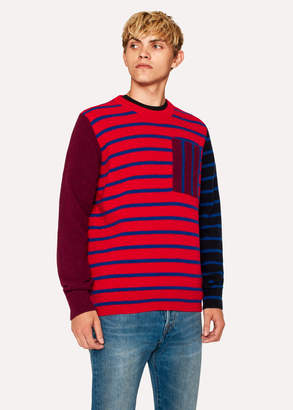 Paul Smith Men's Red Stripe Patch-Pocket Lambswool-Blend Sweater