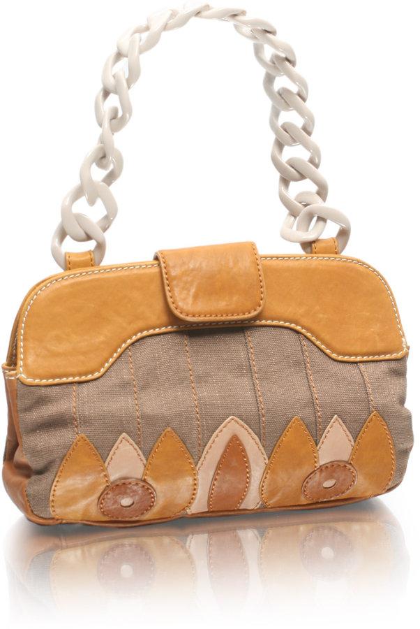 Billy Bag Plastic Chain Handle Appliqué Leather Bag