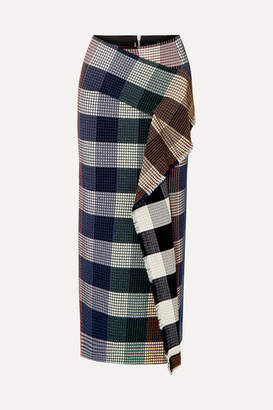 Roland Mouret Lowit Draped Checked Cotton-blend Bouclé Skirt - Black