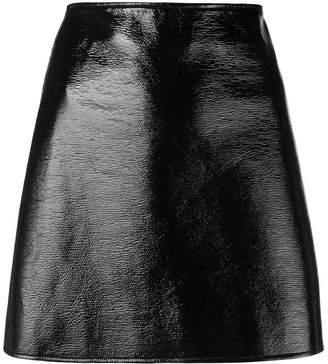 Courreges High-rise Crinkled-vynil Mini Skirt