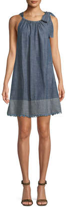 Trina Turk Moorpark Linen Chambray Halter Mini Dress