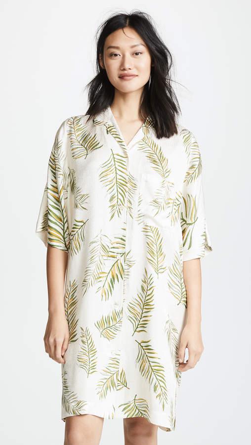 Desert Leaf Print Tunic Dress