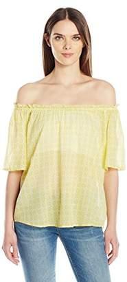 Velvet by Graham & Spencer Women's Printed Cotton Off The Shoulder Blouse
