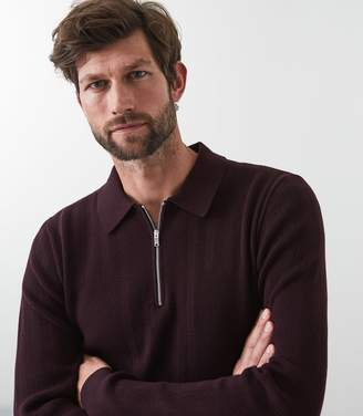 Reiss Rippleton - Zip Detail Polo Shirt in Bordeaux