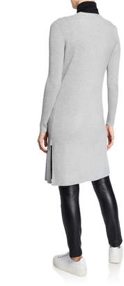 Neiman Marcus Open-Front Long-Sleeve Ribbed Cardigan