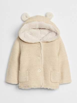 Gap Sherpa-Lined Garter Sweater