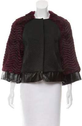 L'Agence Fur-Accented Collarless Jacket