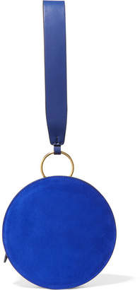 Diane von Furstenberg Circle Leather And Suede Clutch - Royal blue