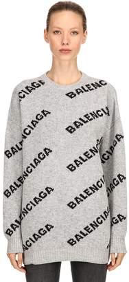 Balenciaga Oversized Logo Wool Jacquard Sweater
