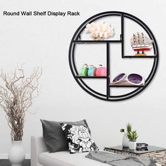 Qiilu Industrial Style Wood Iron Craft Round Wall Shelf Display Rack Storage Unit Home Decor