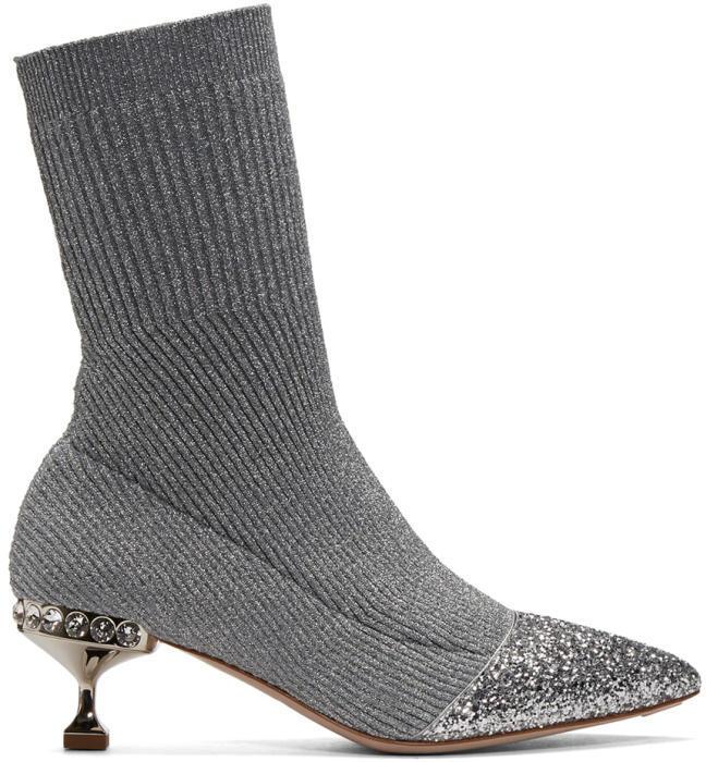 Miu Miu Silver Glitter Sock Boots