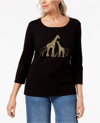 Karen Scott Petite Cotton Giraffe Graphic Top, Created for Macy's