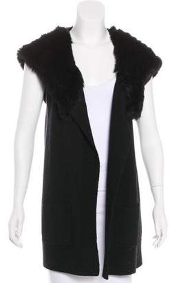 Theory Fur-Trimmed Wool Cardigan