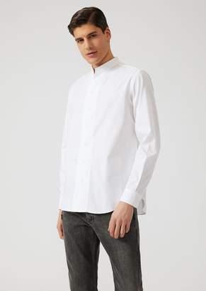 Emporio Armani Modern Fit Ribbed Cotton Shirt